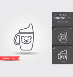 baby cup line icon with editable stroke vector image