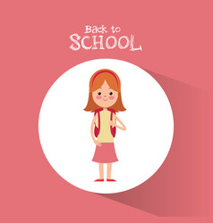 back to school student girl diadem pink skirt vector image