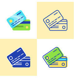 bank card icon set in flat and line style vector image