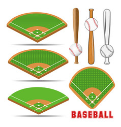baseball fields leather ball and wooden bats vector image