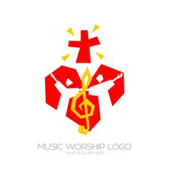Believers in love worship jesus christ sing glory vector