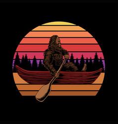 bigfoot canoe sunset retro vector image