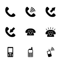Black telephone icon set vector