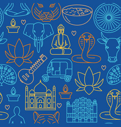 bright india seamless pattern in line style vector image