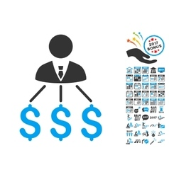 Businessman Expenses Icon With 2017 Year Bonus vector