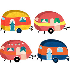 camper vans icon set hand drawn cute vector image