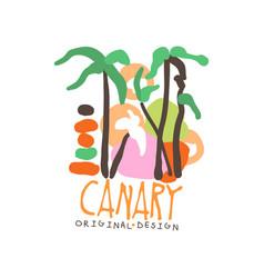 Canary island logo template original design vector