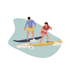 cartoon character surfing people beach vector image