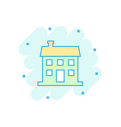Cartoon house icon in comic style building sign vector