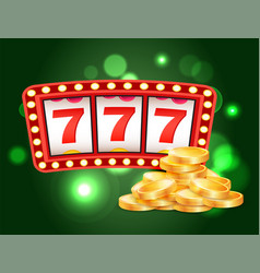casino slot machines 777 combination and coins vector image