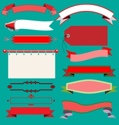 Christmas vintage ribbons and labels vector image vector image