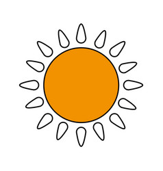 Color silhouette image cartoon yellow sun with vector