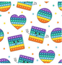 Colorful pop it seamless pattern cute kawaii vector