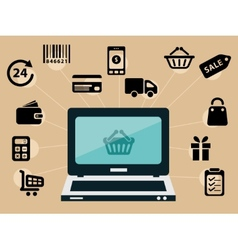 Computer and e-shop icons vector