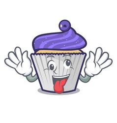crazy blueberry cupcake mascot cartoon vector image