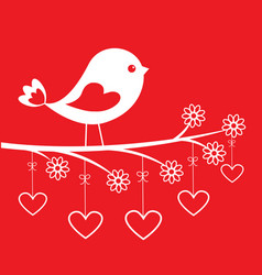 cute bird - stylish card for valentines day vector image
