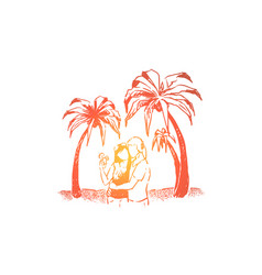 cute couple on holiday together summertime beach vector image