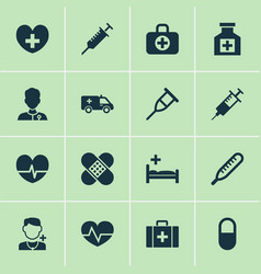 Drug icons set with heart syringe rack and other vector