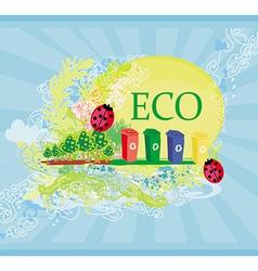 Ecology card design segregation of garbage vector