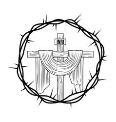 Engraving sacred cross crown thorns vector