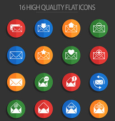 Envelope 16 flat icons vector