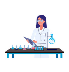 Female chemistry scientist standing behind science vector