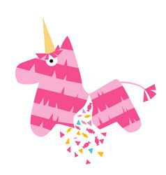 Fiesta pink unicorn mexican horse pinata vector