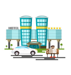 five stars modern hotel building with white car vector image