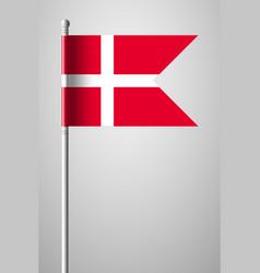 flag of denmark national flag on flagpole vector image