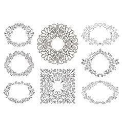 Flourish black and white frames template set vector image