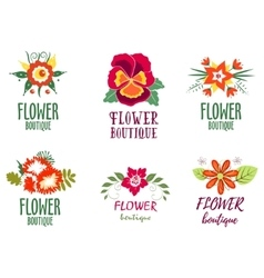 Flower logo Set - Isolated On white Background - vector