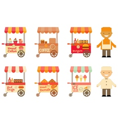 Food Carts with Sellers Set Isolated vector image