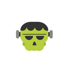 Frankenstein face trick or treat happy halloween vector