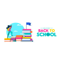 Girl climbing books for back to school web banner vector