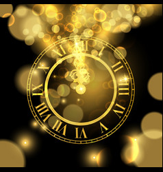 Gold new years eve time luxury greeting card vector