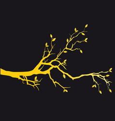 Gold tree branch with leaves vector