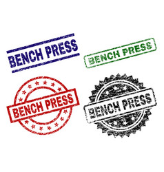 Grunge textured bench press stamp seals vector