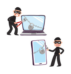 Hacker and giant laptop and phone with padlock vector