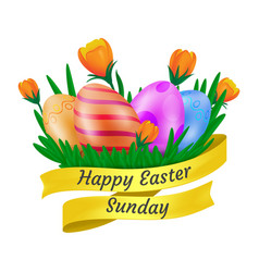 Happy easter sunday golden ribbon with cute vector