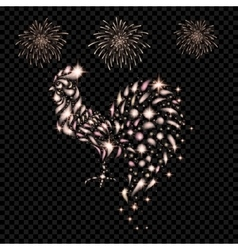 Happy new year 2017 sign fire rooster and vector