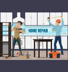home repair apartment renovation workers vector image