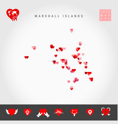 I love marshall islands red hearts pattern map vector