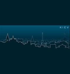 Kiev multiple lines skyline and landmarks vector