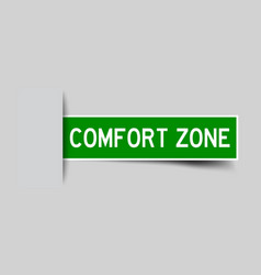 Label sticker green color in word comfort zone vector
