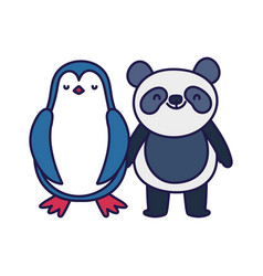 little panda and penguin cartoon character on vector image