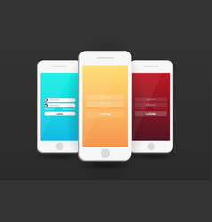 Login screens mobile app material design ui ux vector