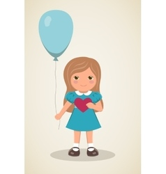 Loving girl with heart in hands and balloon vector
