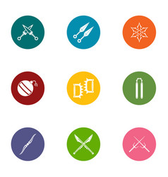 Medieval war icons set flat style vector