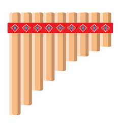 mexican pan flute flat icon music vector image