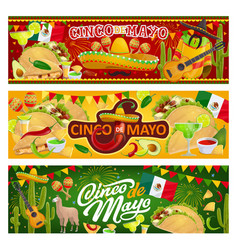 mexican symbols and food cinco de mayo holiday vector image